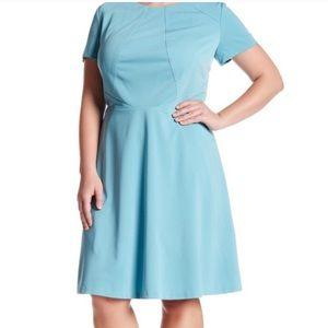 Tahari Robin's Egg Blue Scuba Plus Dress